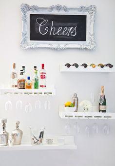 decor, chalkboards, floating shelves, frame, bar areas, cocktail, space saving, bar carts, home bars