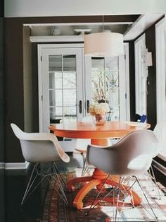 orange painted table