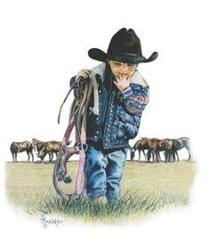 The Littlest Cowboy Western Art Print by by BrucknerCowboyArt, $18.99