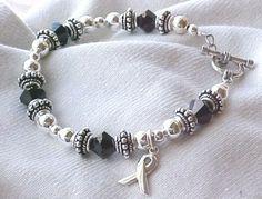 melanoma awar, bracelets, hate melanoma, cancer awareness, awar bracelet, swarovski bracelet, melanoma cancer, swarovski crystals, jewelri