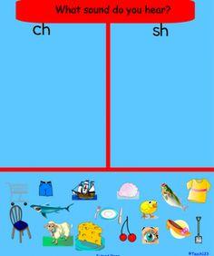 FREE - Smart Board lesson - SH, CH sorting lesson