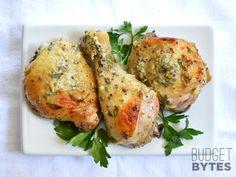 Greek Marinated Chicken Ingredients 1 cup plain yogurt $0.63 2 Tbsp olive oil $0.32 4 cloves garlic, minced $0.32 ½ Tbsp dried oregano $0.08 1 medium lemon $0.49 ½ tsp salt $0.02 freshly cracked pepper $0.05 ¼ bunch fresh parsley $0.20 3½ to 4 lbs chicken pieces $6.86  Marinate 30 min and grill or bake