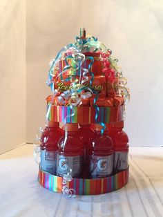 Gatorade, Reese's birthday cake with spot it game on top.