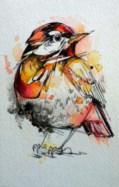 "Little Robin- 4""x6"" Original Ink & Watercolor"