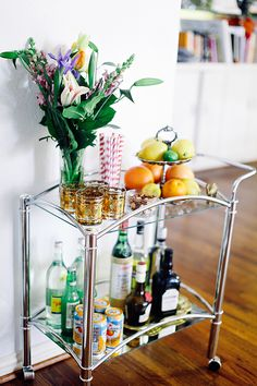 Bar Cart Flowers and Tiered Stand // Sea of Shoes blog