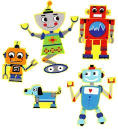 5 Iron on fabric robot appliques DIY by patternoldies on Etsy, $3.50