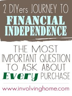 Inspirational series on how two DIYers are working towards financial independence. A must read!