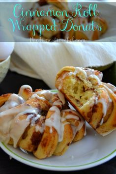 Why choose donuts and cinnamon rolls when you can have BOTH!?  Cinnamon Roll Wrapped Donuts are your newest favorite breakfast and dessert indulgence :) #cinnamonrolls #pillsbury #donuts #breakfast