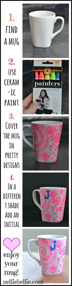 Personalize a mug with porcelain paint. An easy and fantastic gift!
