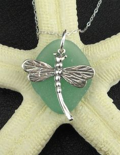 Dragonfly Turquoise Sea Glass Pendant Necklace