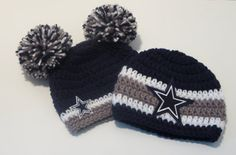 Crochet Dallas Cowboys Inspired Set/Hat/Beanie/Sports/Newborn/Baby/Toddler/ Teen/Adult on Etsy, $50.00
