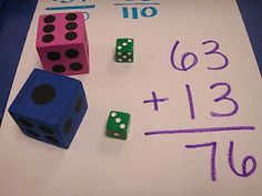 Adding two digit numbers Large dice stand for the tens Small dice represent the ones. Fun idea for teaching how to add or subtract. and teach place value.