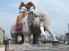 Lucy the Elephant. I heard that this was originally constructed in the late 1800's.Possibly as a unique hotel. It is a 'must see' for visitors to Atlantic City,NJ. Margate City is on Absecon Island..a barrier island in the Atlantic Ocean.Also on Absecon Island: Atlantic City,Ventnor and Longport,NJ.