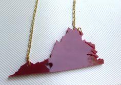 Virginia Tech Necklace Heart over Blacksburg, VA