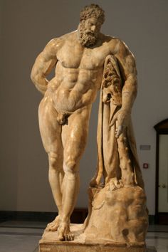 The Farnese Hercules- a Roman copy of the Greek masterpiece by Lysippos to commemorate the Baths of Caracalla (212).  It is now located in the Naples National Archaeological Museum;