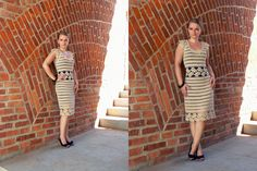 Gold crochet dress with decorative trim.