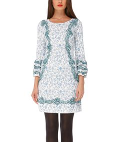 Blue & White Floral Vivian Dress | Daily deals for moms, babies and kids