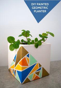 DIY geometric painted planter