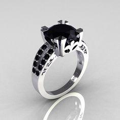 Modern Vintage 14K White Gold 30 Carat Black Diamond