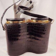 "Vintage Rare Black  Alligator ""Deco Binocular"" Design Purse by Prado Bags of Mexico"