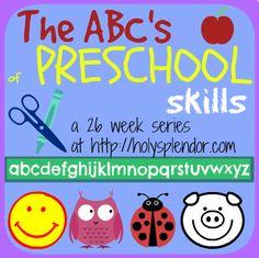 FREE preschool printables! ABC #printables for #homeschool #preschool based on World Book #Curriculum standards. At HolySplendor.com @dalynnrmc #hsmamas