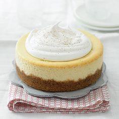 Sublimely creamy, sweet, perfectly festive Eggnog Cheesecake. #Christmas #food #dessert #baking #holidays #cake #cheesecake #eggnog