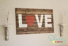 Cute wood love sign