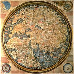 The 1450 ca. Fra Mauro map (inverted, South is normally at the top). The map depicts Asia, Africa and Europe.