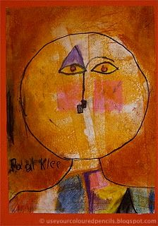 Gorgeous Paul Klee portraits. These are my favorite of all that I have seen! Art teacher Anne Farrell had 1st graders go over their drawings with orange paint and a roller before coloring with soft pastels. Beautiful effect!