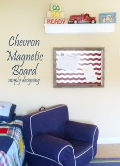 DIY Chevron Magnetic Bulletin Board | includes a full tutorial on how to create this project | #diy #chevron #modernnursery #summerinthecity