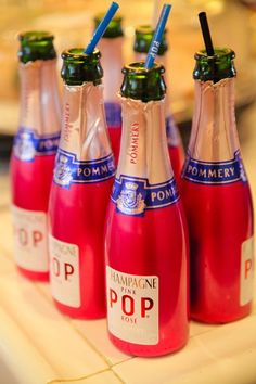 Serve trays of mini bottles of champagne with straws to your guests. Did you know that drinking champagne with a straw is supposed to go to your head faster? Urban legend? Try it and see for yourself.