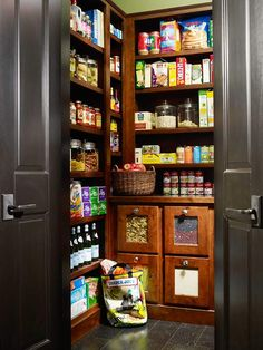 Spacious Walk-In Pantry  Keep food items on hand and in tip-top shape with an organized kitchen pantry. Walk-in pantry designs allow easy access and storage of nonperishable foods, wine, small appliances, and tableware. Shallow pantry shelves provide easy viewing of food items and help small items stay organized rather than become lost among larger items.