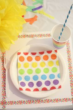 Ideas for decorating at a rainbow birthday party #rainbow #party #birthday