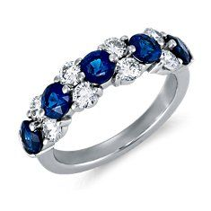 Anniversary ring - This would be lovely since Joel's birthstone is the Sapphire, as is Brays and it was the stone I had in my first ring from him. bling, diamond rings, anniversary rings, diamonds, diamond garland, garlands, something blue, blue nile, garland ring
