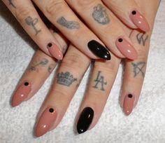 Black rhinestones on soft gel pointed tips (stilleto nails). Minus the rhinestones