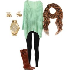 The the mint sweater with the cognac boots and leopard scarf! Mint is such an unexpected colour for fall!