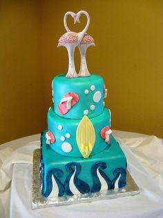 flamingo beach theme wedding cake