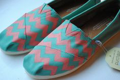 Custom Hand Painted TOMS Light Blue and Coral Chevron Design. via Etsy.