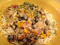 Crock Pot-Cream Cheese Chicken Chili  over Rice