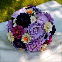 Handmade Paper Flower Wedding Bouquet  by DragonflyExpression