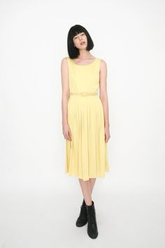 Vintage 1950's Yellow Dress with Belted Waist by amuletboutique, $135.00