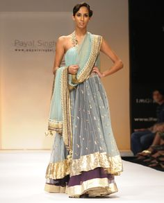 Sea Blue Mukesh Suit with Purple Net Skirt - Exclusively In