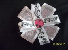 Music Bottle Cap Hair Bow by ang744 on Etsy, $4.00