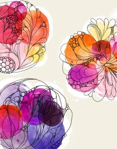 watercolour floral   by Alissa Evans colors, art, watercolor flowers, doodl, a tattoo, design, alissa evan, print, watercolor floral