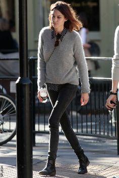 Grey sweater, dot button down, black denim, boots