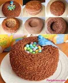 Spring or Easter time cake! #springdesserts #robinegg #robineggs #cake #spring #bluejay #springcake #bakingfun #eastercake #easterfood #springfood #easterfoodideas #easterdessert #partybravo