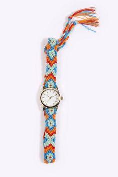 原宿风橙蓝彩色民族风编织装饰手表