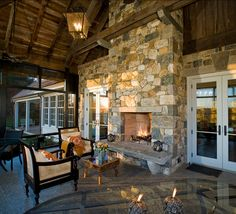 Patio with beautiful fireplace