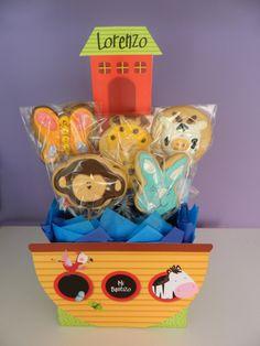 Centros de mesa de Arca de Noé con galletas decoradas