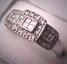 Vintage Diamond Ring Wedding Band White Gold by AawsombleiJewelry, $1595.00